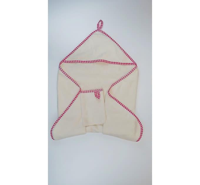 Комплект банный 0152/4 (молочный, красная окантовка)
