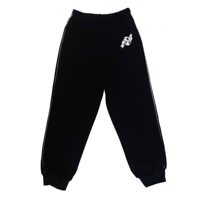 Спортивные штаны 360/6 (черные, кант, наклейка)