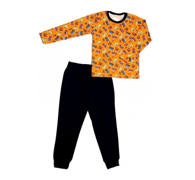 Костюм для мальчика 2021/3 (машинки на оранжевом)