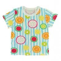 Футболка для девочки  411/80  полосатая, фрукты