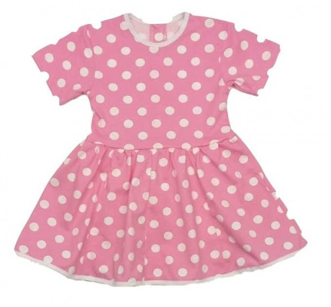 Платье 7028/69 розовое, белый горох