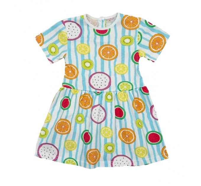 Платье 7072/11 фрукты, полоски