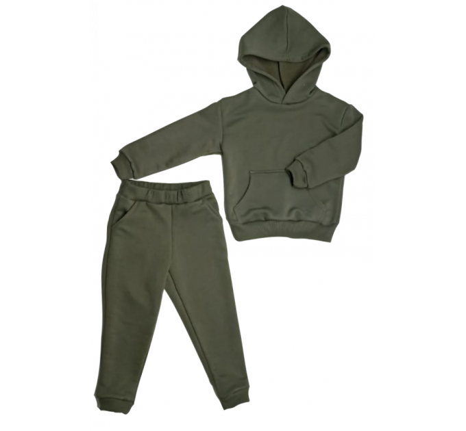 Спортивный костюм 0313/17 т.зеленый, без начеса