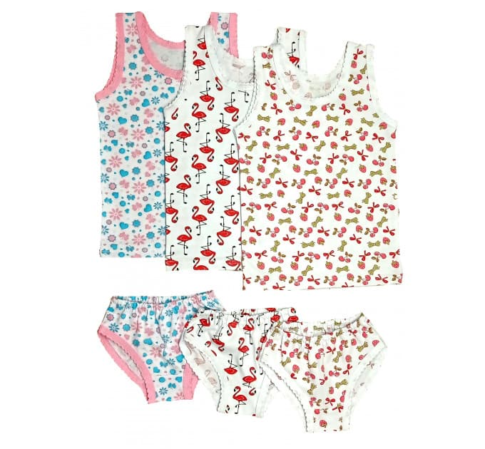Гарнитур для девочки 055/3 (бантики, фламинго, цветы)