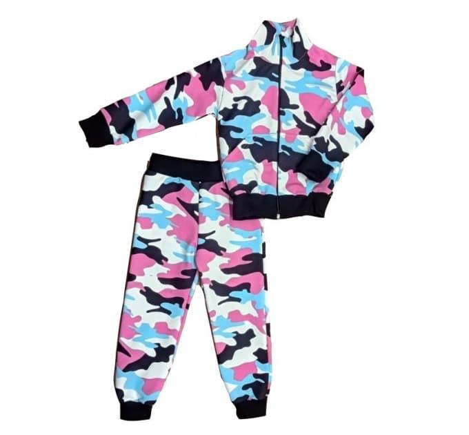 Спортивный костюм 0209/4 (розовый камуфляж, темный манжет)