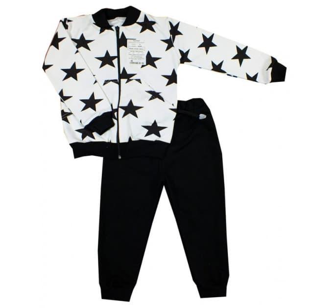 Спортивный костюм 0209/10 (белый, звезды черные)